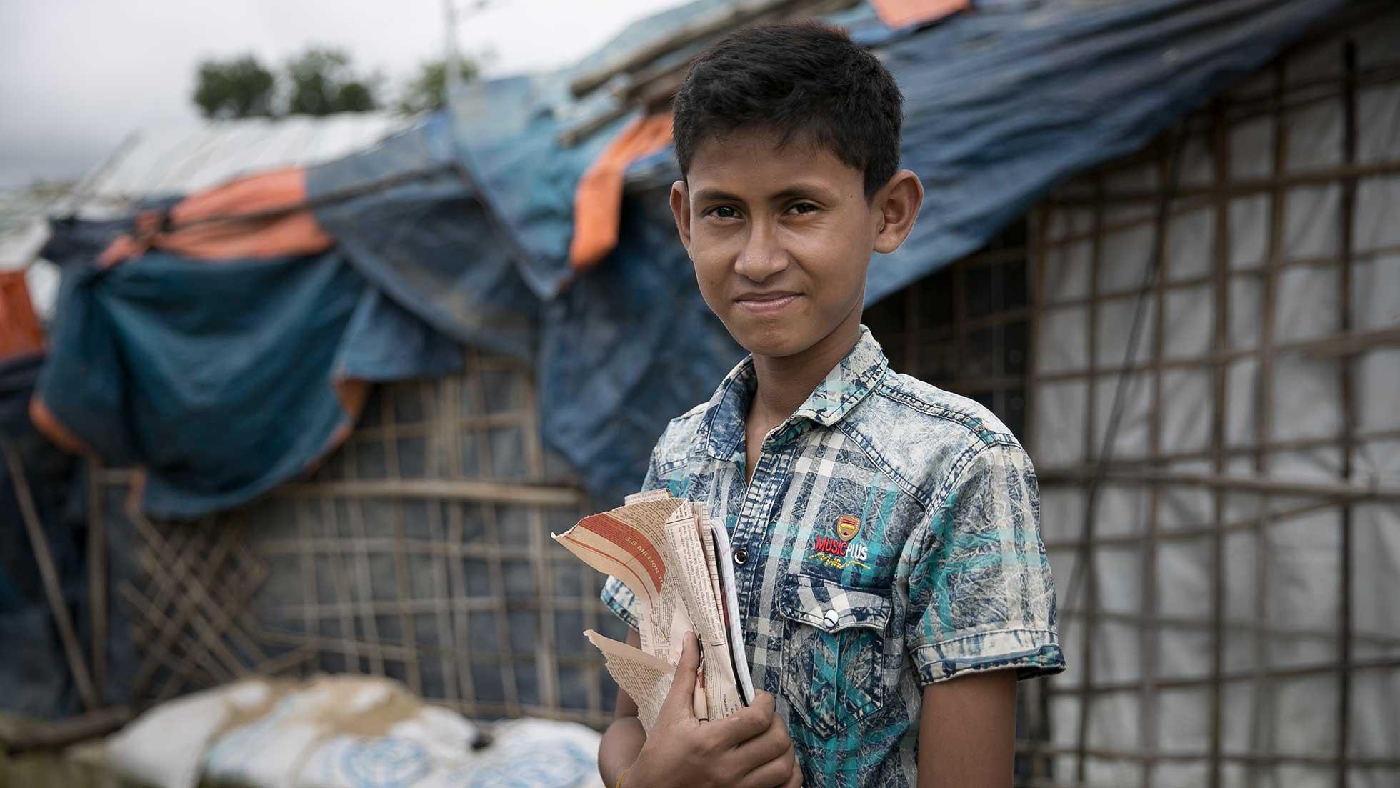 Niño refugiado rohingya